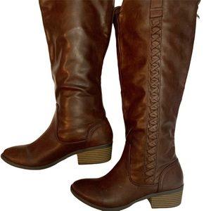 Mia Sanford Brown Tall Riding Boots Low Heels